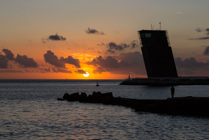 Sunset at Tagus River and Atlantic Ocean, Lisbon, Portugal (Nov 2017)