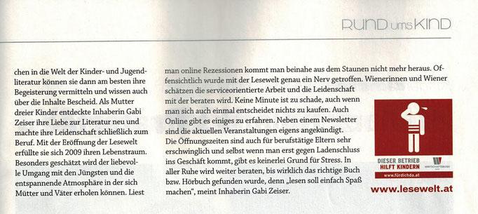Lesewelt wird 2014 zum kinderfreundlichsten Betrieb Wiens nominiert