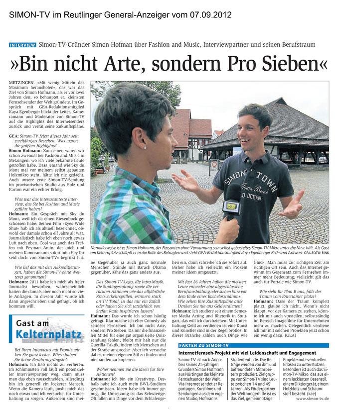 SIMON-TV im Reutlinger General-Anzeiger vom 07.09.2012