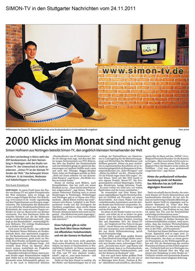 SIMON-TV in den Stuttgarter Nachrichten vom 24.11.2011