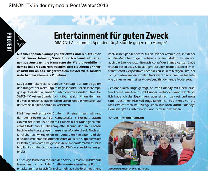 SIMON-TV in der mymedia-Post Winter 2013