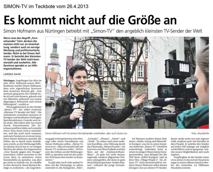 SIMON-TV im Teckbote vom 26.04.2013