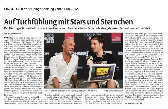 SIMON-TV in der Nürtinger Zeitung vom 14.06.2012