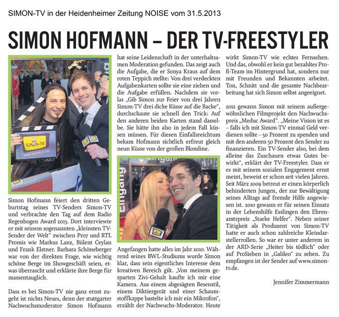 SIMON-TV in der Heidenheimer Zeitung NOISE vom 31.05.2013