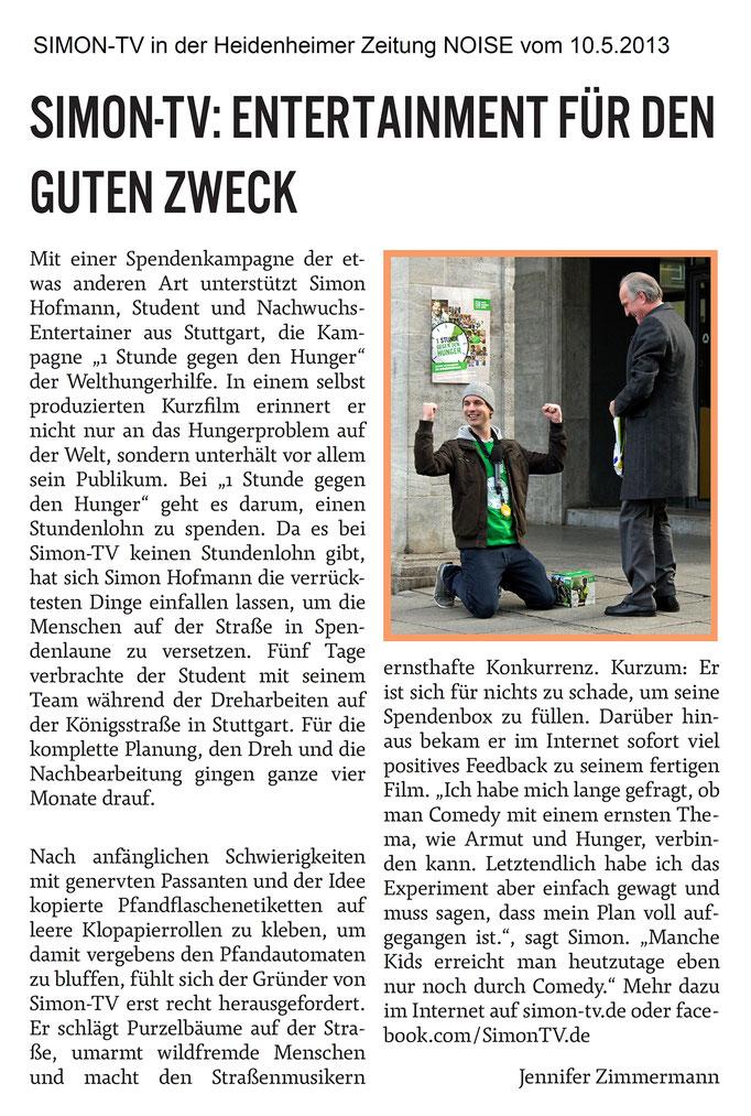 SIMON-TV in der Heidenheimer Zeitung NOISE vom 10.05.2013