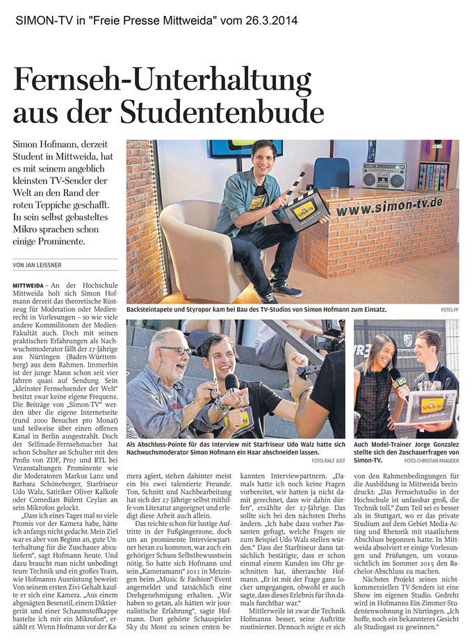 "SIMON-TV in ""Freie Presse Mittweida"" vom 26.03.2014"