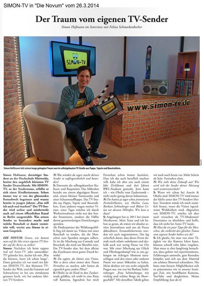 """SIMON-TV in """"Die Novum"""" vom 26.03.2014"""