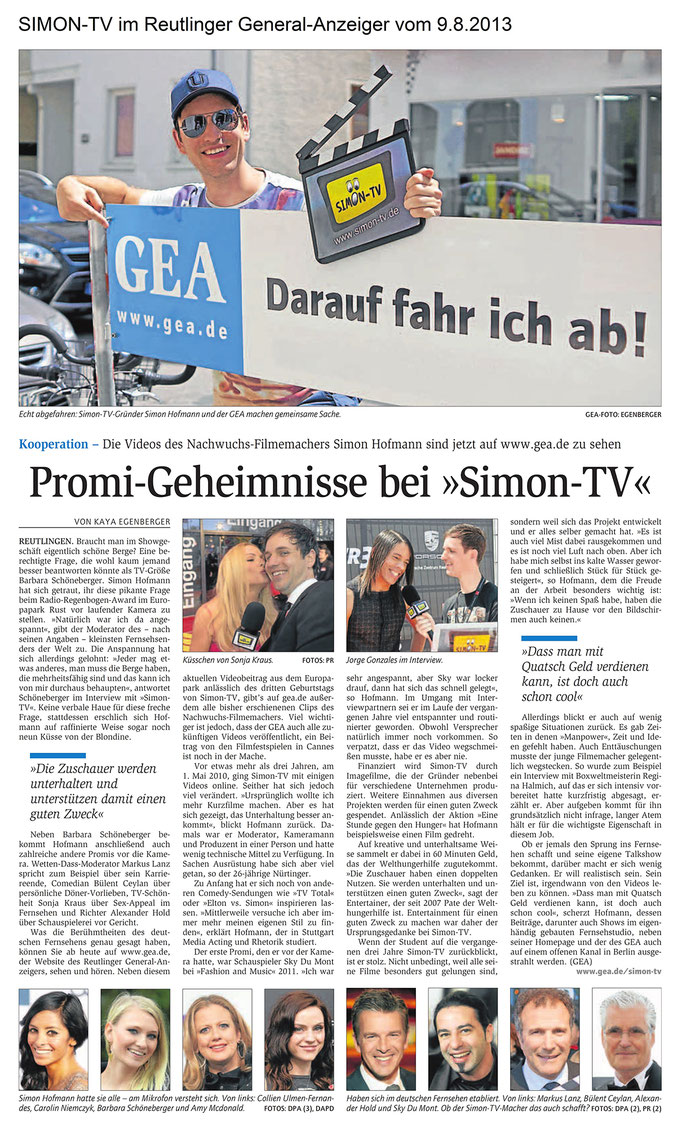 SIMON-TV im Reutlinger General-Anzeiger vom 09.08.2013