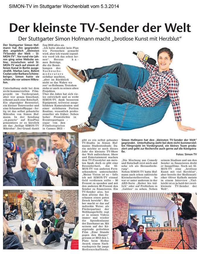 SIMON-TV im Stuttgarter Wochenblatt vom 05.03.2014