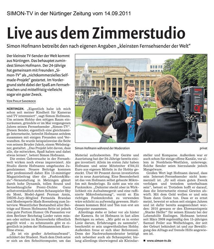 SIMON-TV in der Nürtinger Zeitung vom 14.09.2011