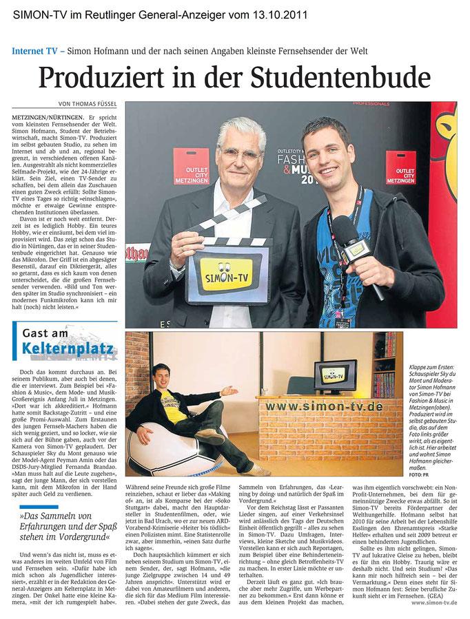SIMON-TV im Reutlinger General-Anzeiger vom 13.10.2011