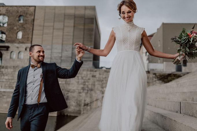 Hochzeitsfotos alter Hafen Würzburg
