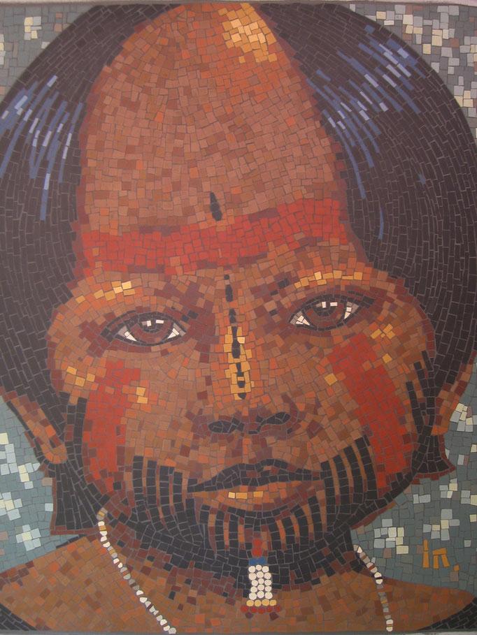 """série ethnique, masque peint, """"enfant amazonien V"""" tribue kayopo, en mosaïque"""
