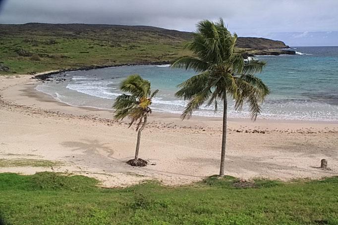 Küste bei Anakena - der einzige Sandstrand der Insel