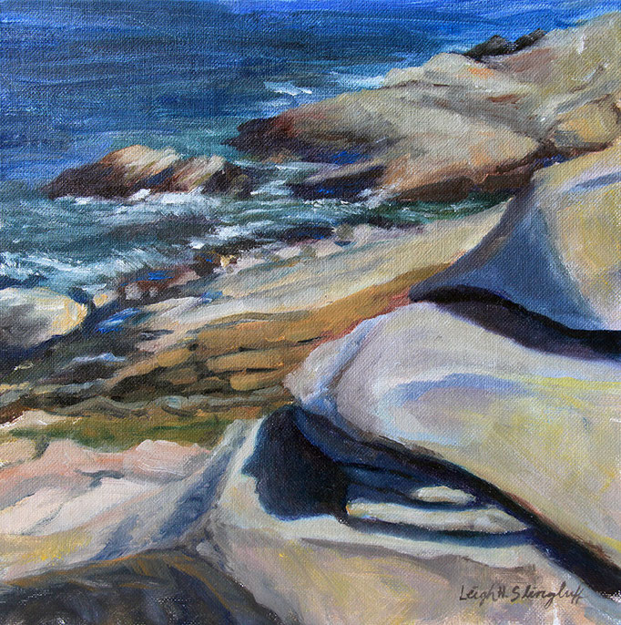 "Andrews Point, Hoop Pole Cove Smooth Rocks, 12x12"" Oil on canvas board"