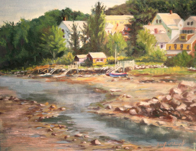 "Riverdale at Low Tide, Gloucester, MA, Oil on Canvas board, 12 x 16"" SOLD"