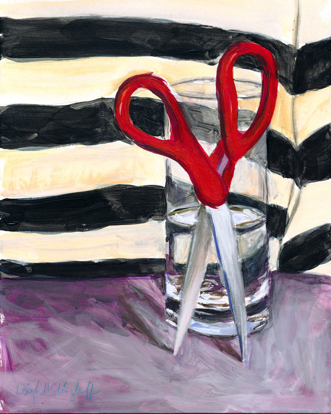 "Scissors, Acrylic on Board, 8x10"" $80"