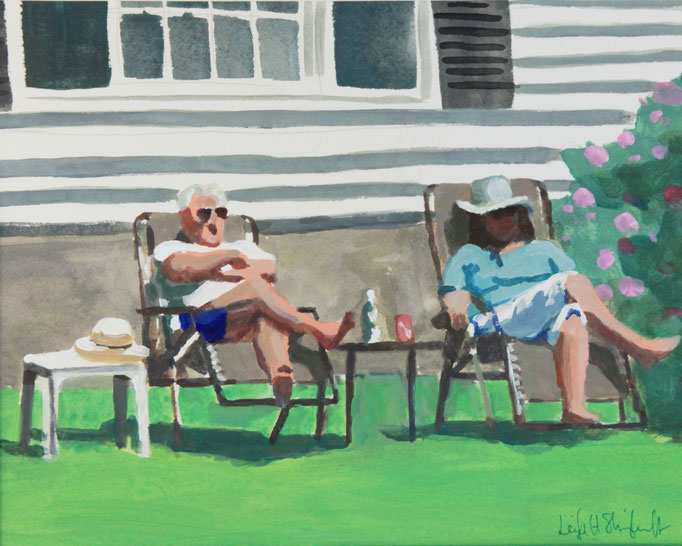 "Relaxing on the Boulevard, Acrylic on Paper, 9x12"" SOLD"