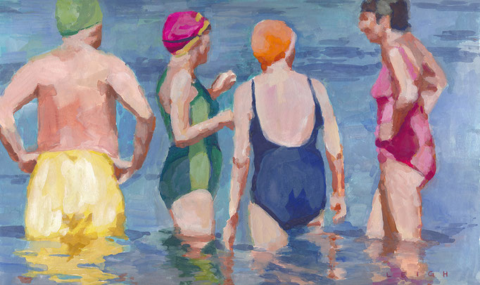 "Deep Blue Swim Crew, Gouache on Paper, 8x15"" Available Framed"