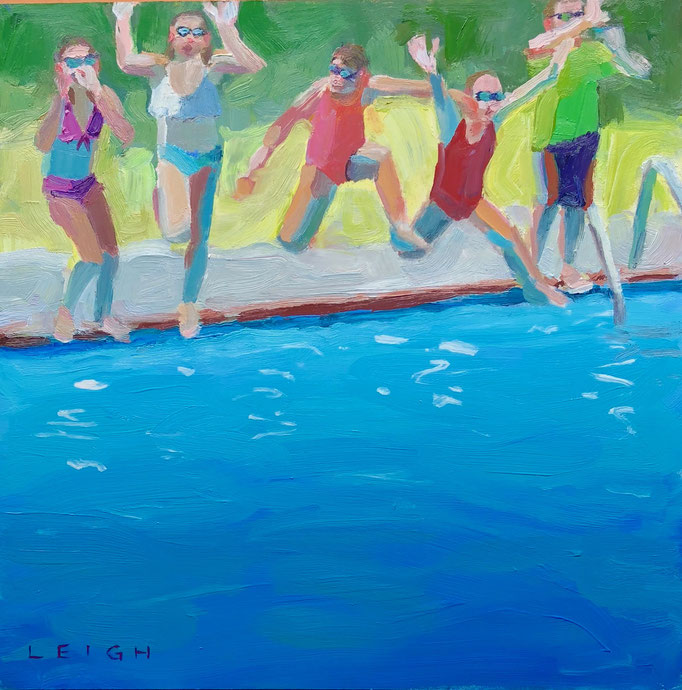 "Summer Jumpers, Oil on board, 12x12"" Available Framed"