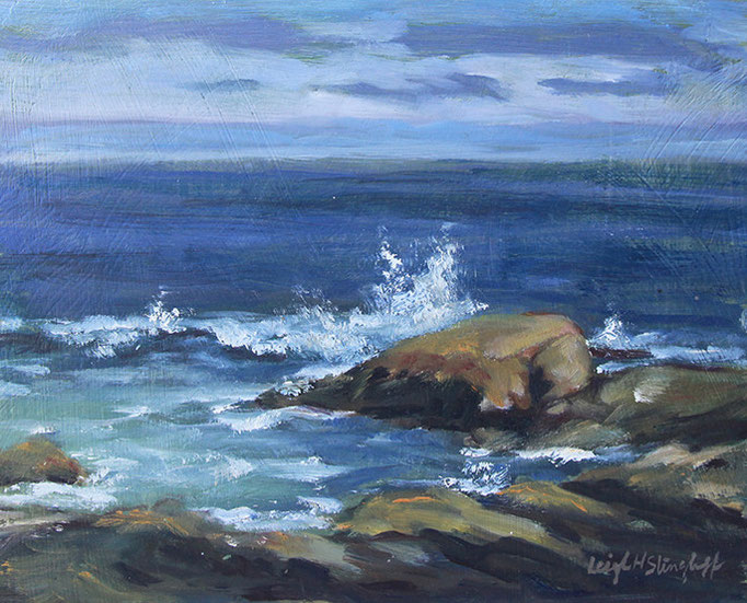 "Andrews Point Cloudy Day Crashing Waves, study, 8x10"" Oil on rough sanded masonite"