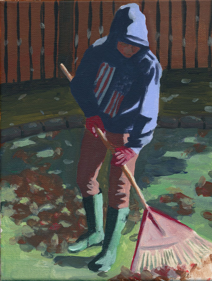 "Backyard Helper, Acrylic on canvas 8x10"" NFS"