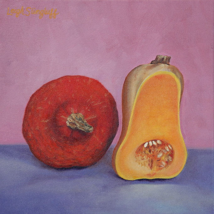 "Squash Duo, Oil on Canvas, 8x8"", Private Collection"