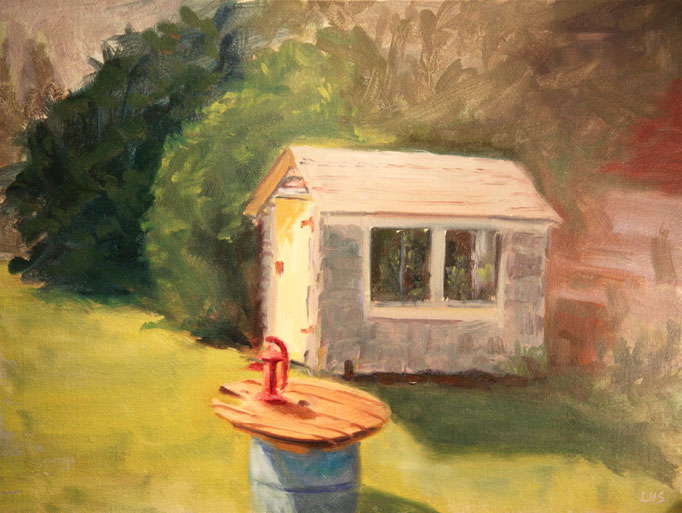The Backyard, Oil on Canvas, 12 x 18 in., SOLD