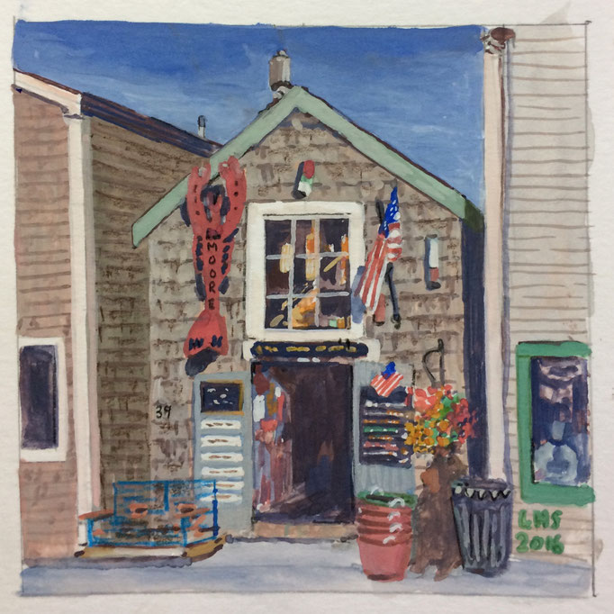 Roy Moore Lobster Shack, Gouache, 4 x 4 in., SOLD