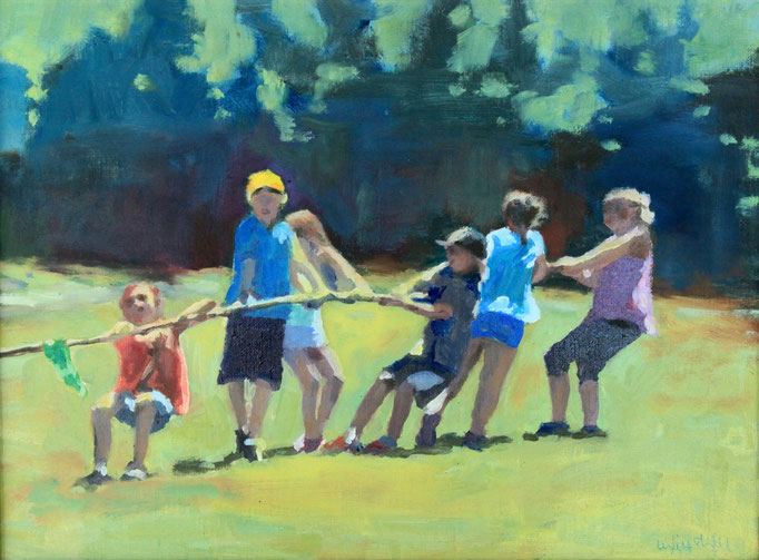 "Field Day Tuggers, Oil, 11x14"" SOLD"