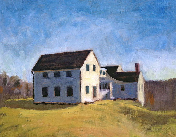 "Cox Res. Farm House, plein air, Oil on canvas, 11x14""--Available framed"