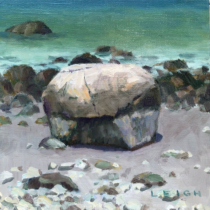 "Old Garden Beach Boulder, plein air, Oil on canvas, 8x8""--Available framed"