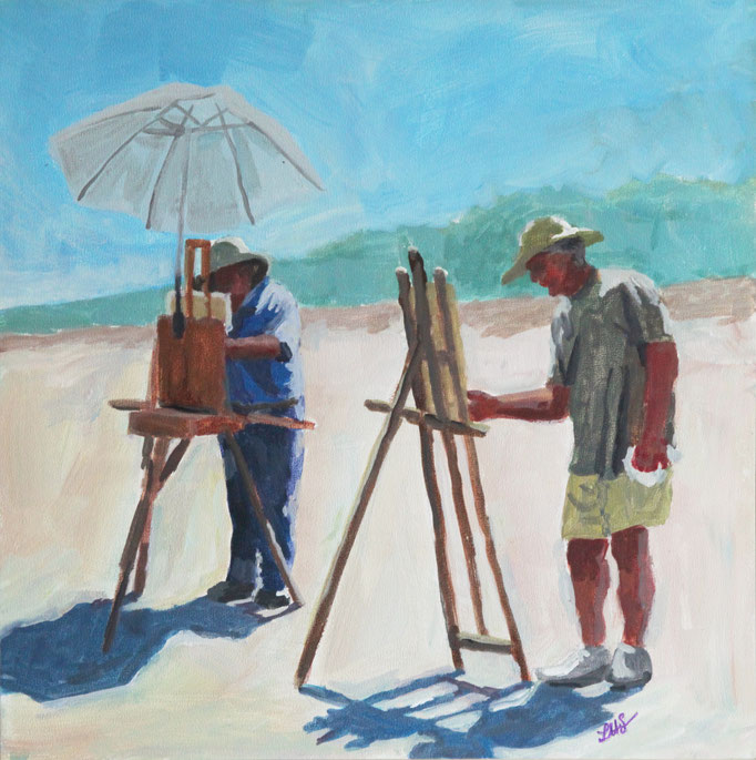 "Plein Air Painter Guys, Acrylic on Board, 12x12"" Available Framed"