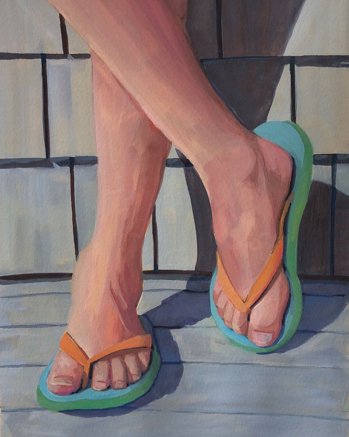 "Flip Flop Feet, Gouache  on Paper, 15x22"" Available Framed"