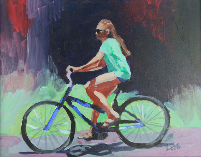 "Beach Biker Girl, Acrylic on Board, 8x10"" Available"