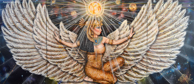 """The Mother of the Pharaohs or Goddess Isis"", 320 x 120 cm, oil on canvas (2016)"