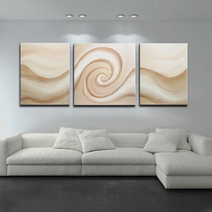 """Sandy Wave (XIV)"" 100 x 260 cm (Triptych) - sold/verkauft"