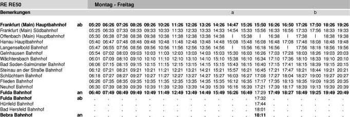 Fahrplan RE 50 - Frankfurt - Hanau - Fulda