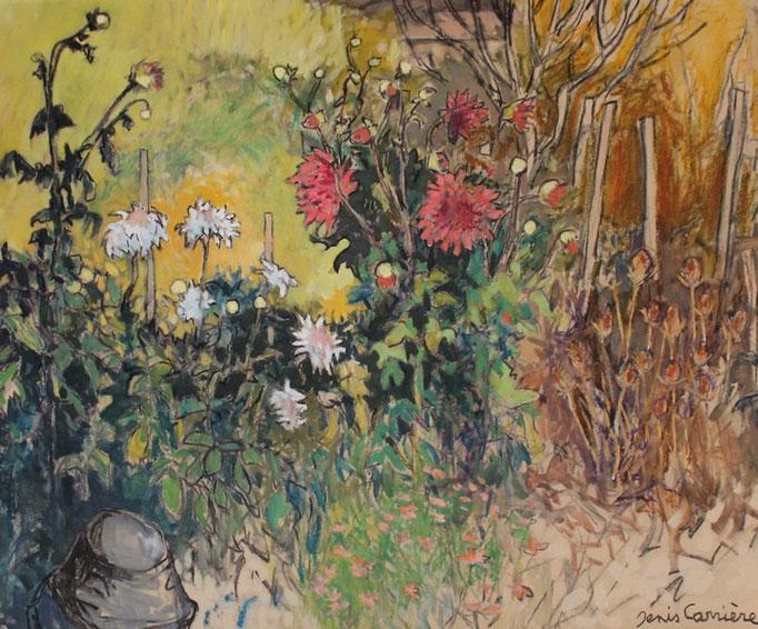 53- Armissan, le jardin de Jean-Jacques, Dahlias, Technique mixte (fusain, pastel, huile), format 60 cm x 73 cm, prix : 680 €