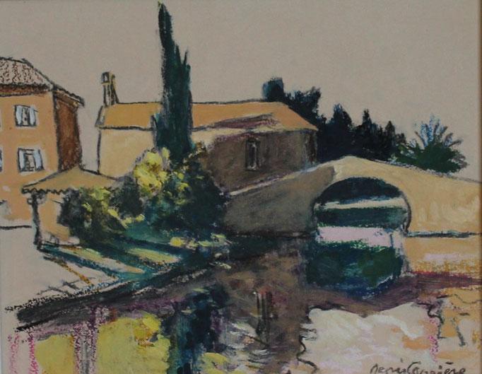 70- Le Somail, Technique mixte (fusain, pastel, huile), format 24 cm x 30 cm, prix : 180 €