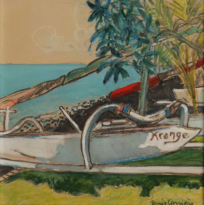 12- Bali, Amed pirogues, Technique mixte (fusain, pastel, huile), format 30 cm x 30 cm, prix : 180 € (vendu)
