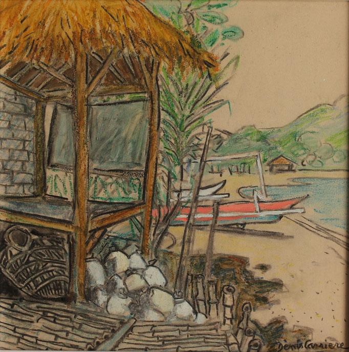 1- Bali, village de pêcheurs, Technique mixte (fusain, pastel, huile), format 30 cm x 30 cm, prix : 180 €