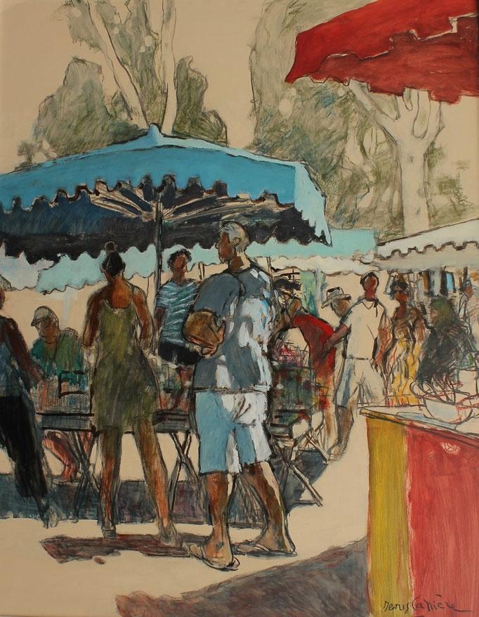 42- Narbonne, le marché, Technique mixte (fusain, pastel, huile), format 73 cm x 92 cm, prix : 980 €