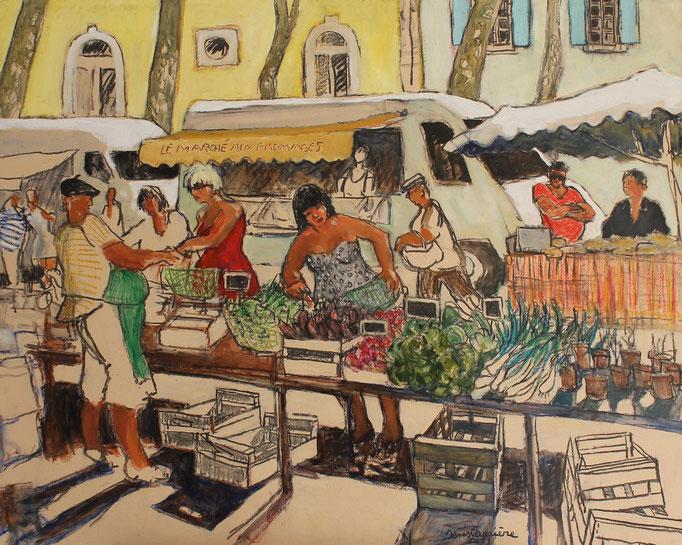 40- Saint-Chinian, le marché, Technique mixte (fusain, pastel, huile), format 73 cm x 92 cm, prix : 980 €