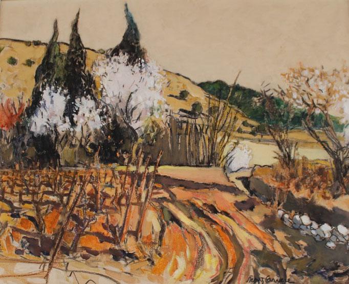 54- Gruissan, bord d'étang, Amandiers, Technique mixte (fusain, pastel, huile), format 60 cm x 81 cm, prix : 780 €