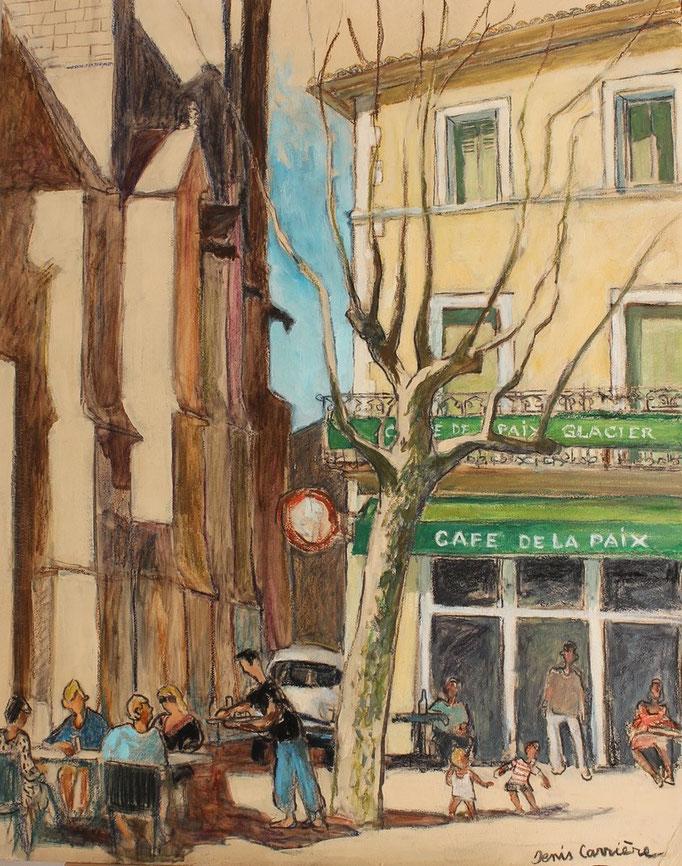 43- Capestang, café de la Paix, Technique mixte (fusain, pastel, huile), format 73 cm x 92 cm, prix : 980 €