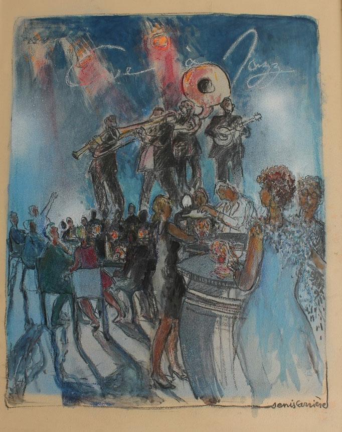 36- Conilhac, cave à jazz, Technique mixte (fusain, pastel, huile), format 65 cm x 81 cm, prix : 780 €