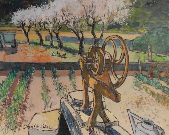 63- Armissan, le jardin de Paul, Technique mixte (fusain, pastel, huile), format 60 cm x 81 cm, prix : 780 €