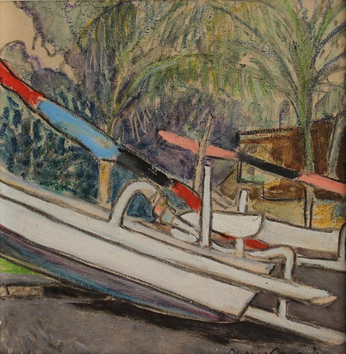 11- Bali, Amed village, Technique mixte (fusain, pastel, huile), format 20 cm x 20 cm, prix : 90 €