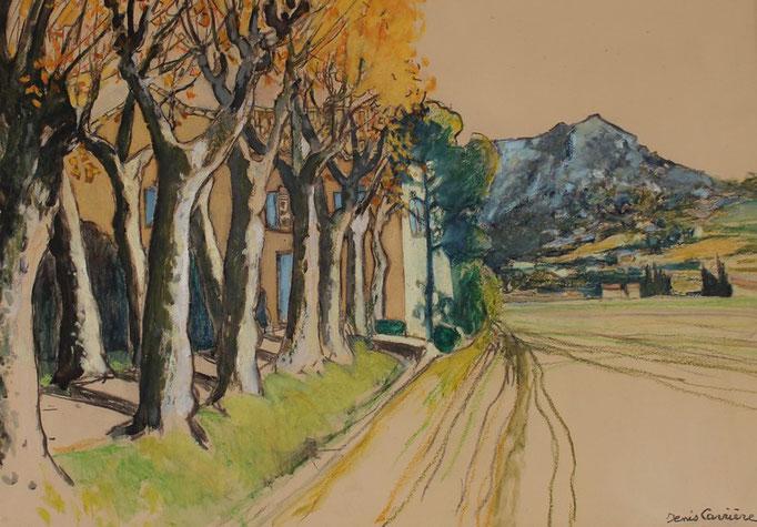 55- Saint-Chinian, Pierre morte, Platanes, Technique mixte (fusain, pastel, huile), format 60 cm x 81 cm, prix : 780 €